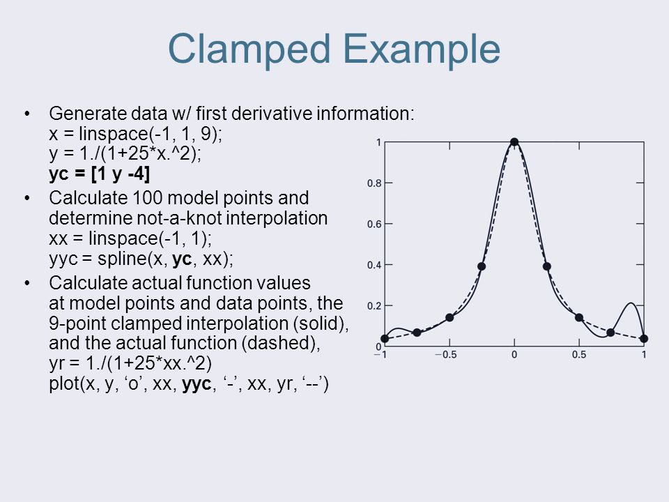 Clamped Example Generate data w/ first derivative information: x = linspace(-1, 1, 9); y = 1./(1+25*x.^2); yc = [1 y -4]